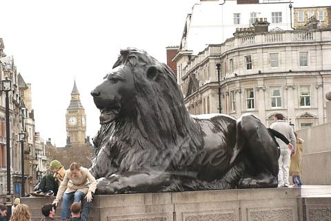 China outdoor casting brass antique bronze lion statues