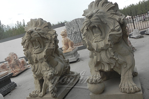 Classic natural modern white marble Lion Statues