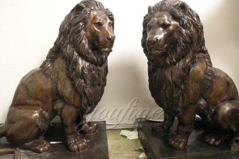 Decoration antique life size bronze lion sculptures