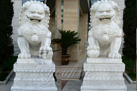 Decoration carving large white marble stone foo dogs outdoor
