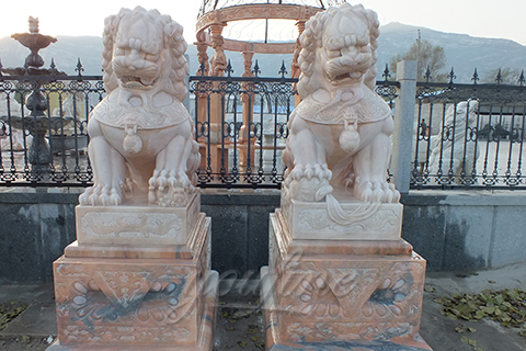 Marble stone hand carving chinese foo dog for gate