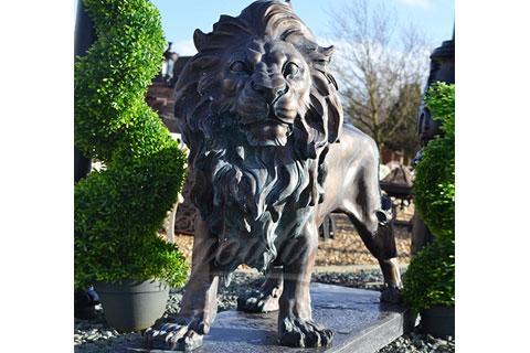 Outdoor garden decoration metal sculptures large bronze lions statues