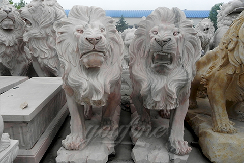 Outdoor garden stone carving marble lion for decoration