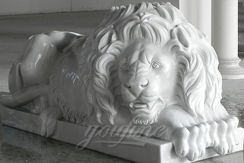 Popular design life Size marble Lion statues outdoor