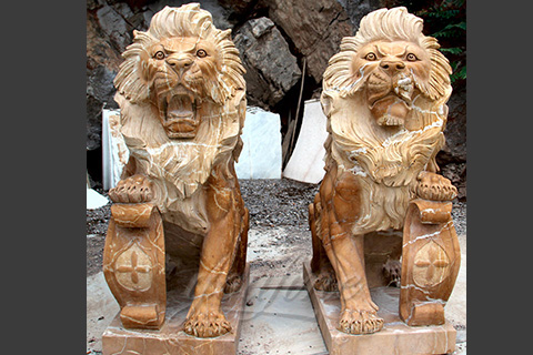 Yellow marble lion statues for garden