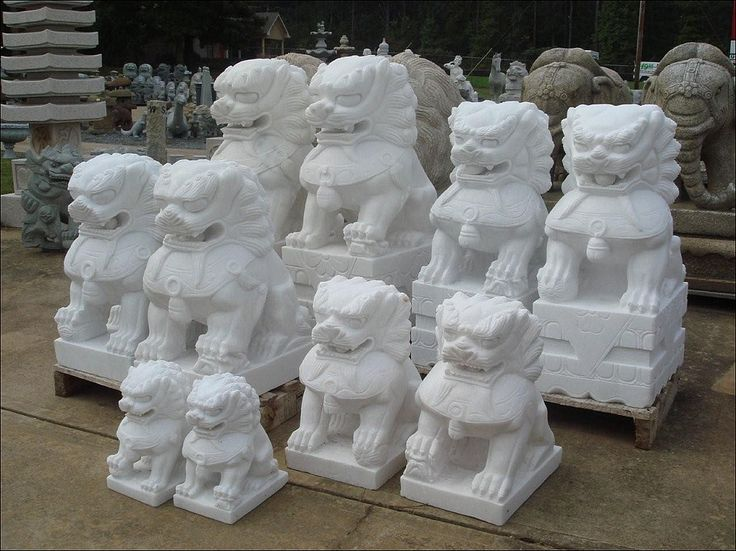 Marble Foo Dog Statue For Sale